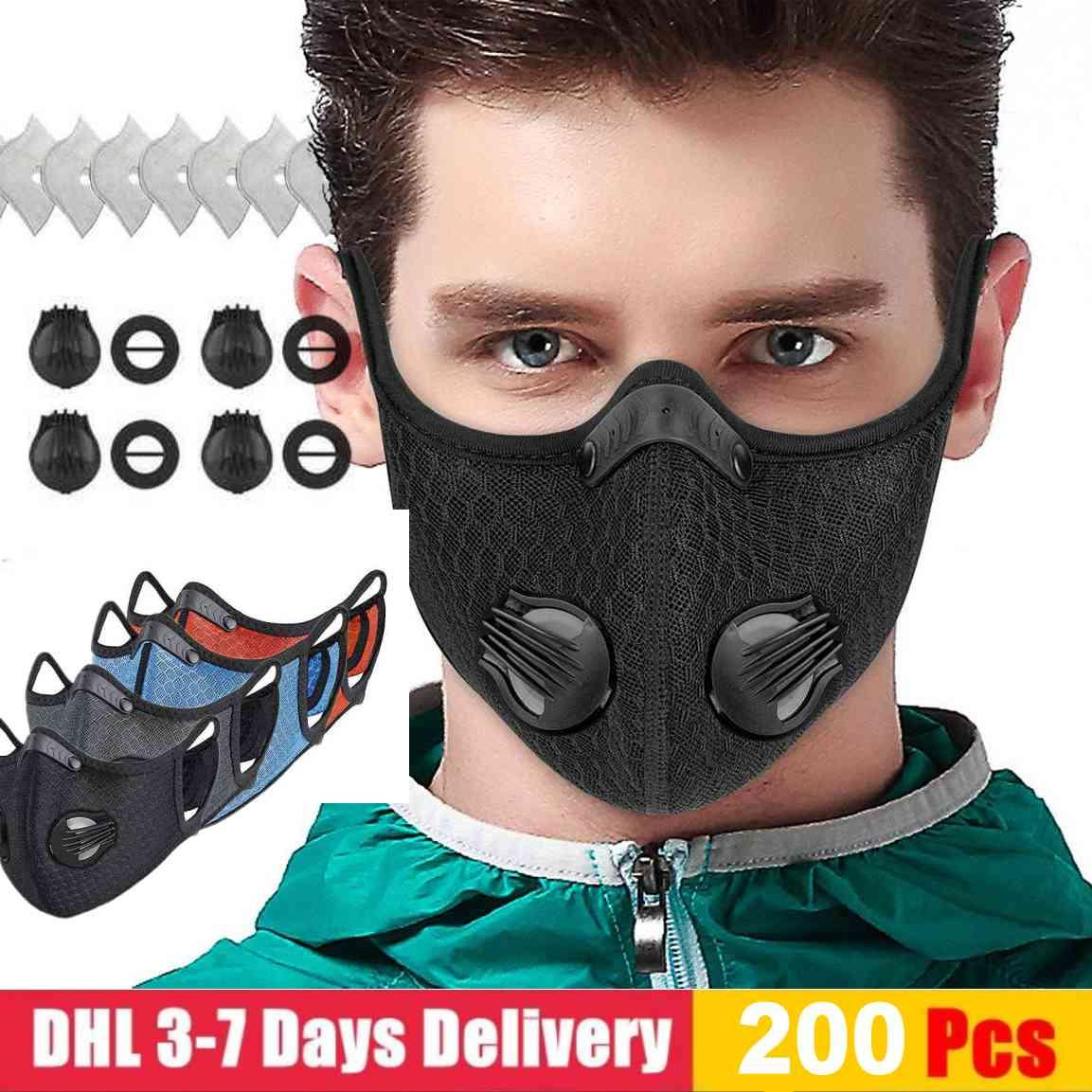 US STOCK designer luxury Cycling Face Mask Activated Carbon with Filter PM2.5 Anti-Pollution Sport Running Training Protection Dust Mask
