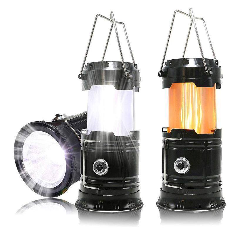 Solar Camping Tent Light Emergency Flame Lamp Lantern Retractable Emergency High Brightness Outdoor Portable lighting