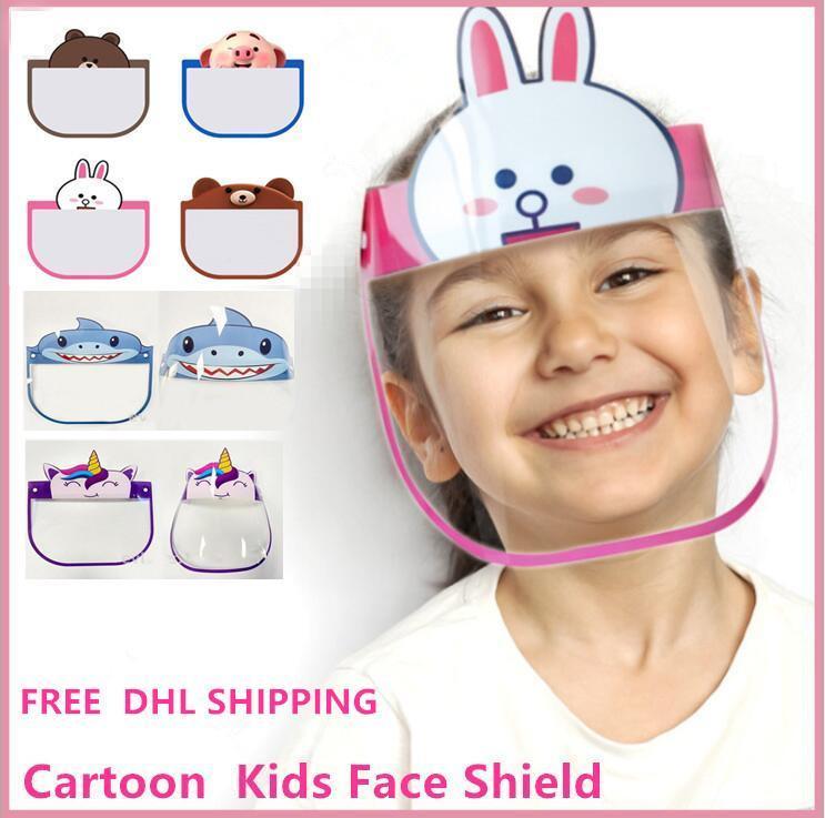 DHL 3-7 dias para US100 PCs Crianças dos desenhos animados Cara Shields Máscaras de protecção transparente Anti-Fog completa Rosto Escudo Anti Poeira PET Máscaras FY8037