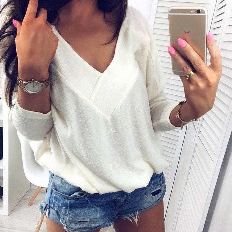 Camisetas de outono Mulheres Sexy V pescoço solto manga comprida Casual Tops sólidos Velvet T-shirt Vetement Femme