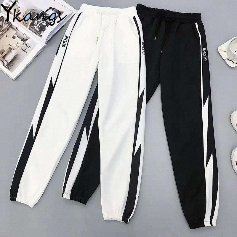 Kadınlar Kore Ge4L # Beyaz Çizgili Sweatpants Koşucular Kadınlar Elastik Yüksek Bel Spor Baggy Pantolon Harajuku Pantolon Gevşek Harem Pantolon
