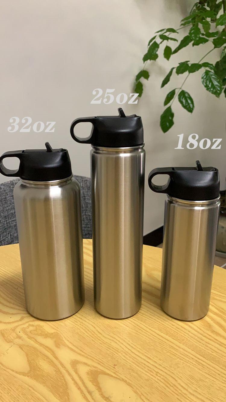 STOCK 18 once 25 once 32 once di acqua di sport della bottiglia in acciaio inossidabile boccetta di vuoto doppia parete isolata Leak Proof Sport bottiglia coperchio bocca larga