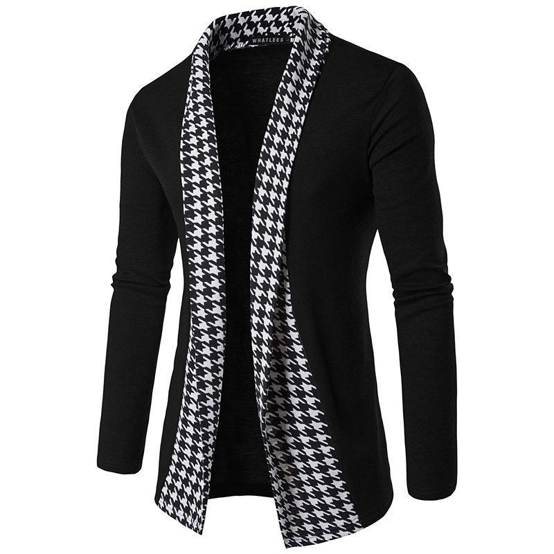 Korean Fashion Style Mens Cardigan Plaid Panalled Long Sleeve Slim Fit Jacket Spring Autumn Jacket Outfits