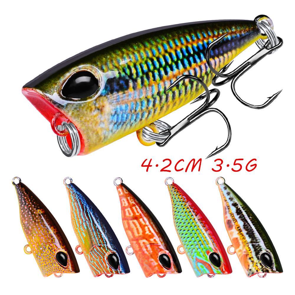 1pc 10 Renk Karışık 4.2cm 3.5g Popper Sabit yemler Yemler 10 # Kanca Balıkçılık Kancalar Balık oltaları Pesca Balıkçılık BL_104 Mücadele