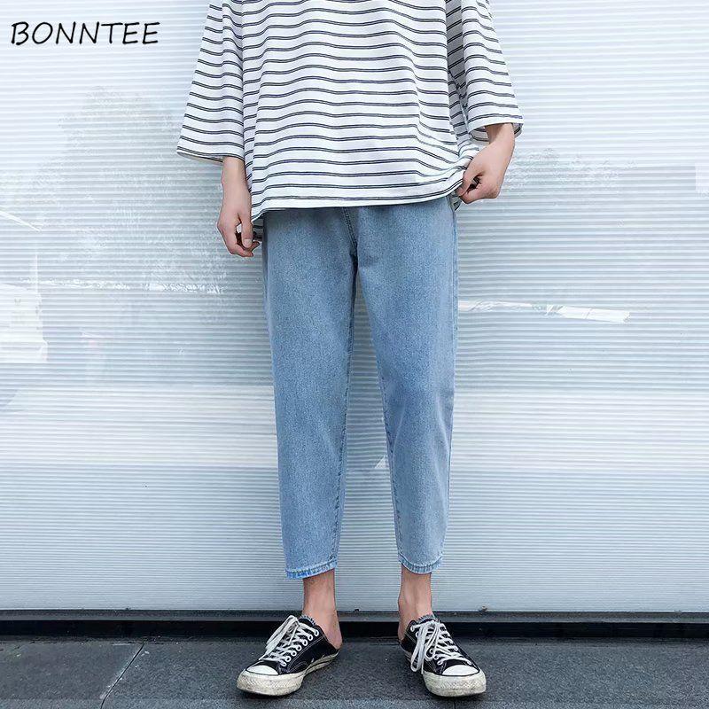 Джинсы Solid пят прямые брюки Большой размер 3XL эластичный пояс ретро Сыпучие Chic Мужская Korena Стиль Harajuku Новый
