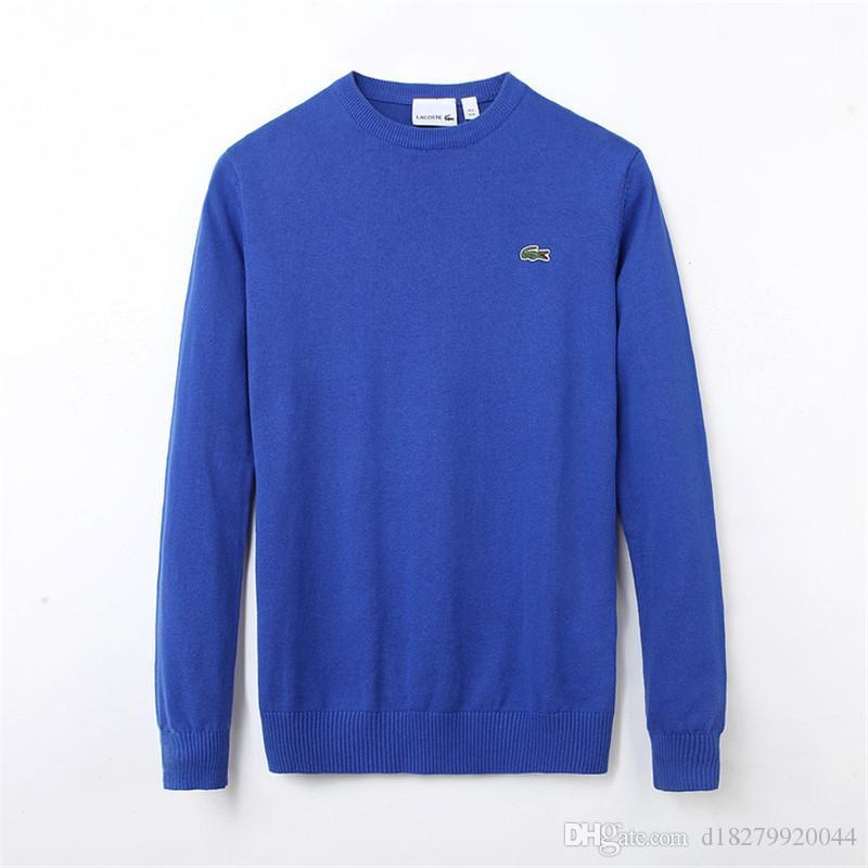 Мужские гольфы осень / зима свитер новой базы стиль вязать сплошной цвет круглых пуловеры шеи длинного рукав Повседневного толстовку 9 цветов
