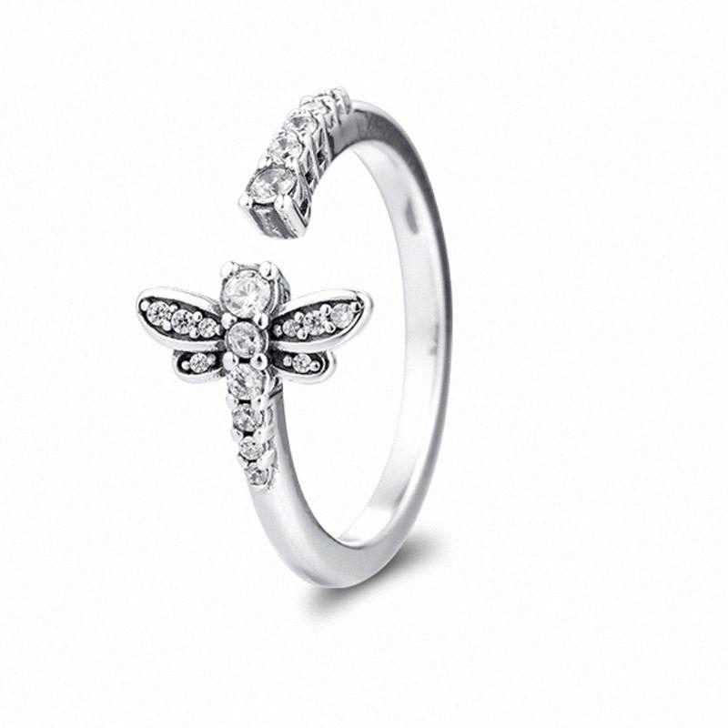 QANDOCCI Véritable 925 anneaux en argent sterling mousseux Dragonfly ouvert Anneaux pour bijoux Finger L'engagement des femmes mariage berloques UyJe #