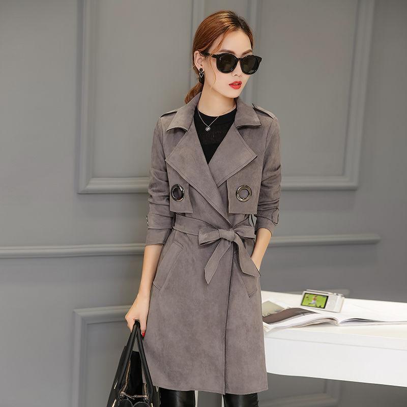 2020 Новый женский весна осень Твердые Abrigo Mujer Long Элегантный Outwear Шинель Женщины Тонкий ремень замша Кардиган пальто S213