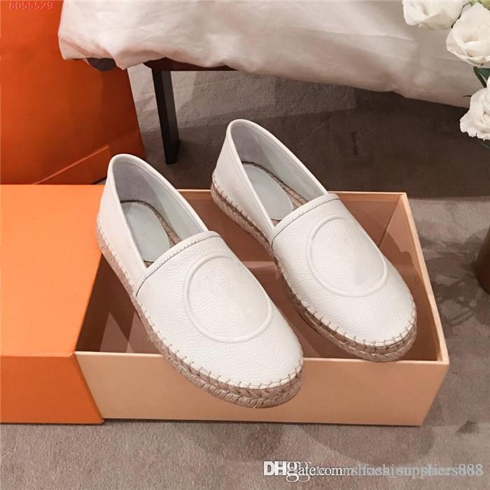 Mulheres Pure deslizamento cor de couro em sapatos casuais, leve e palha confortável tecido sapatos pescador casual com caixa de 35-40