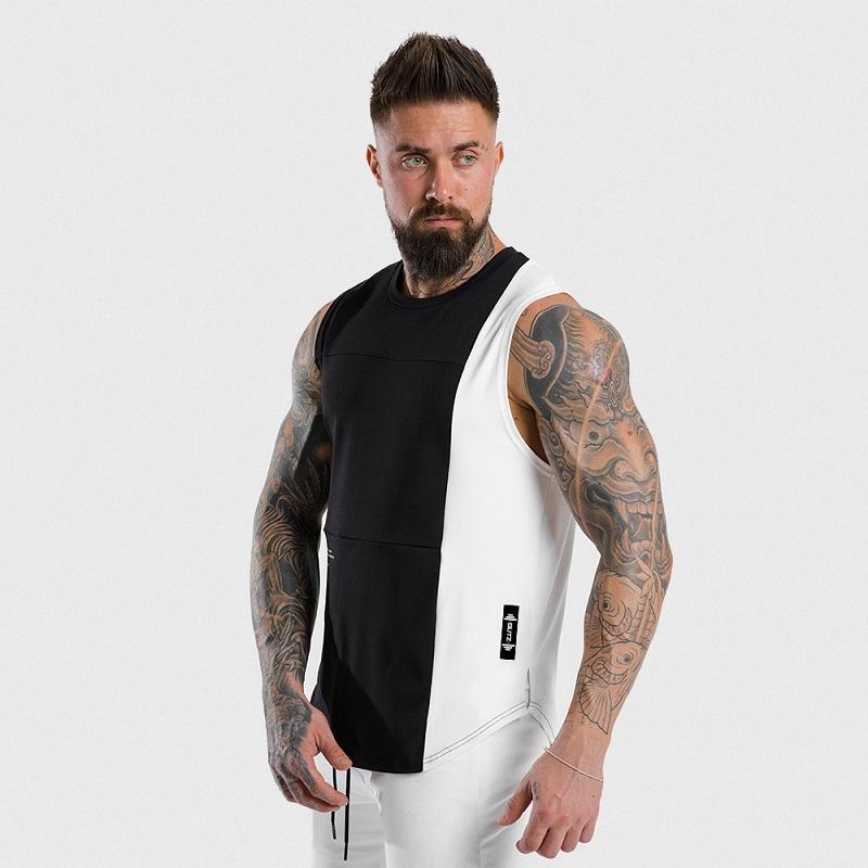 Hommes couleur patchwork Casual camisoles Vestes Gym Workout Fitness coton manches Vêtements de running Stringer Singlet Homme Summer Vest