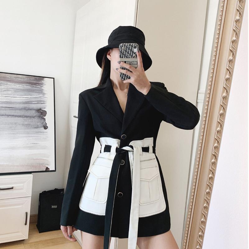 [Ewq] 2020 Automne Nouveau entaillé Neck Plein manches Patchwork Pocket Blazer noir Corée Fashion Style Manteaux de tendance femmes 19N-A184