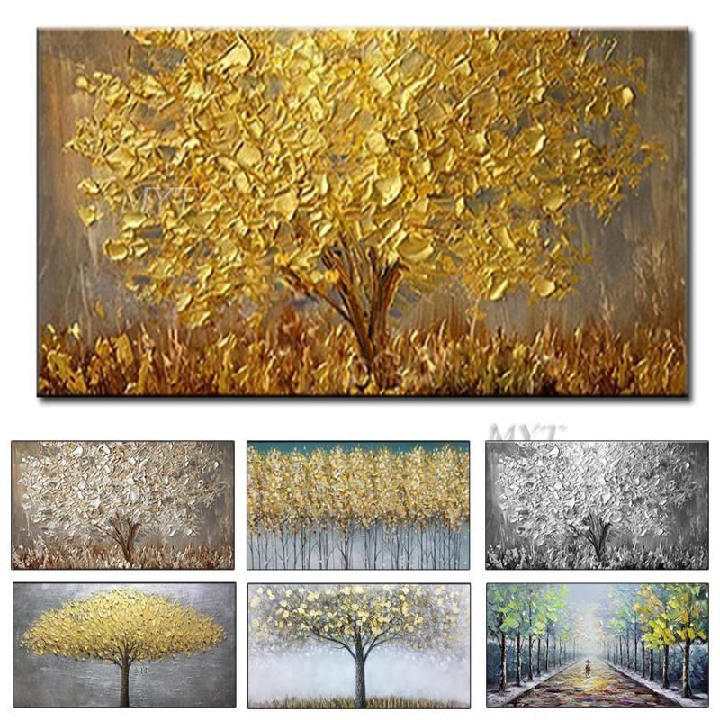Pittura Nuovo mano grande e moderno della tela a olio di arte Dipinti Coltello Golden Tree Per la casa Living Room Hotel della parete di arte Immagine
