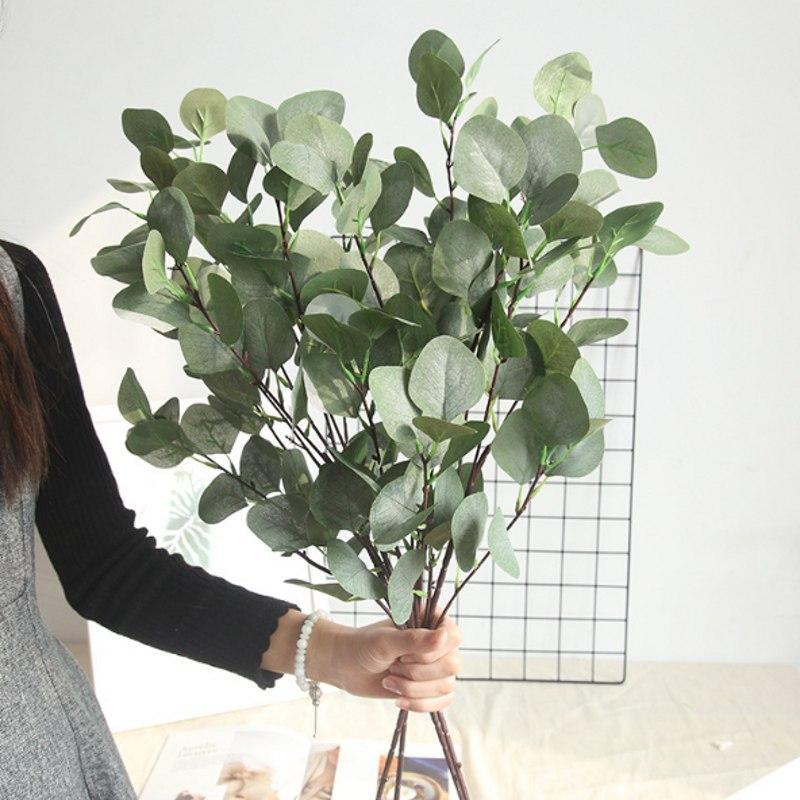 hojas de eucalipto hierba artificial planta verde de plástico de simulación de flores falsas ramo casa jardín mesa tienda de decoración dinero Hierba