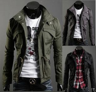 Nueva Primavera del collar del soporte de la chaqueta chaqueta ocasional de los hombres delgados de los hombres delgados gran XXXXLJK017 adicional