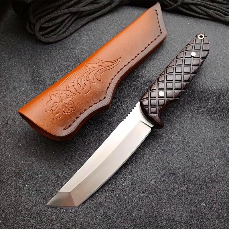 Especial offfer sobrevivência reta Faca VG10 cetim Tano Ponto Lâmina completa Tang Ebony Handle tático facas com bainha de couro