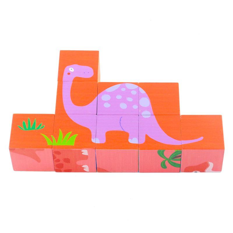 أطفال خشبية نوع لغز toys9pcs 6 الجانبين ديناصور كتل لغز ألعاب تعليمية للأطفال