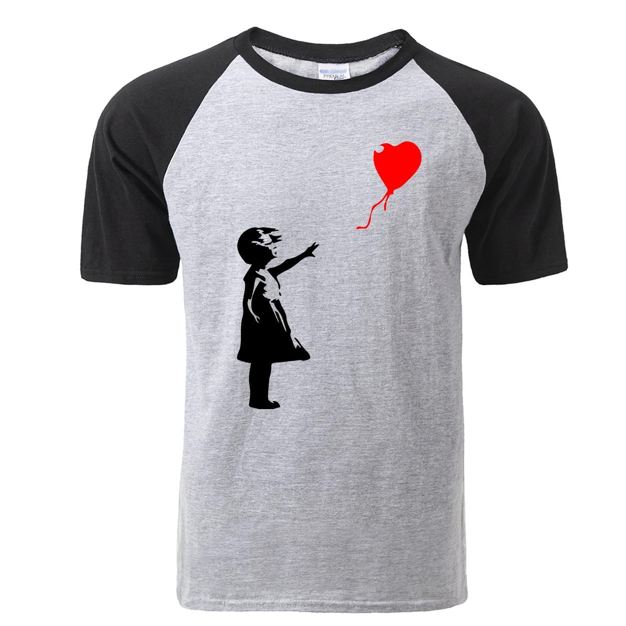 Moda Banksy Camisetas masculinas 2,020 luva engraçado Float Balão Girl T-shirt Casual Cotton Men Short Camiseta Macio Raglan Tops Tees