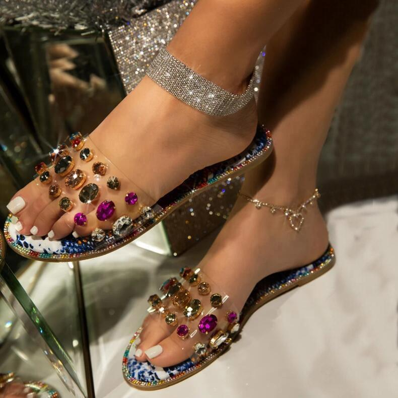 Clear PVC Флип Fops Rhinestone Дневной Скользящей обувь Женщина Flat Open Toe Slingback Diamond Beach Тапочки