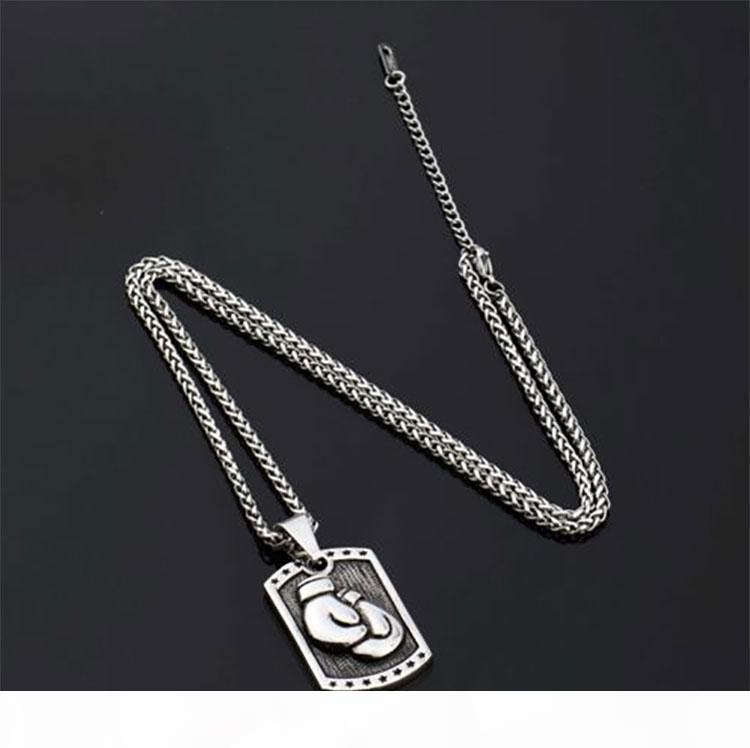K Men ', S Hip Hop ожерелье Посеребренная Fist Boxing Glove собак тегов ожерелье пшеницы цепи титана из нержавеющей стали ювелирные изделия