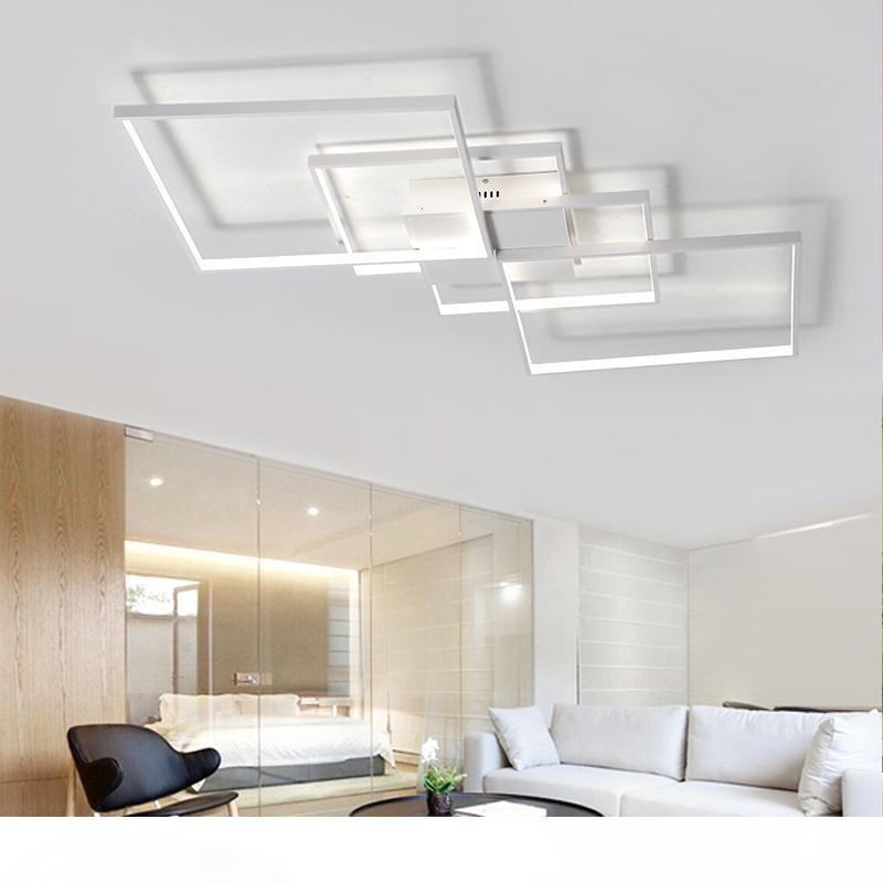 Прямоугольник Современных светодиодные потолочные светильники для гостиной Спальни Белого или черных алюминиевого 85-265 потолочного освещения Бесплатной доставки спальни