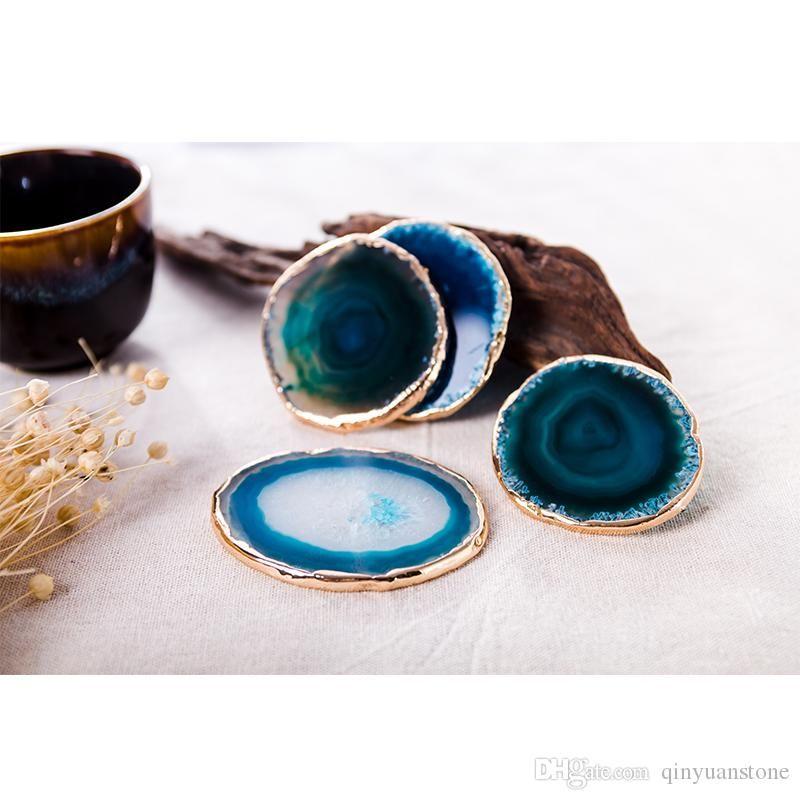 copo russa fatia de ágata azul de ágata exposição tapetes de pedra montanha-almofadas de jóias