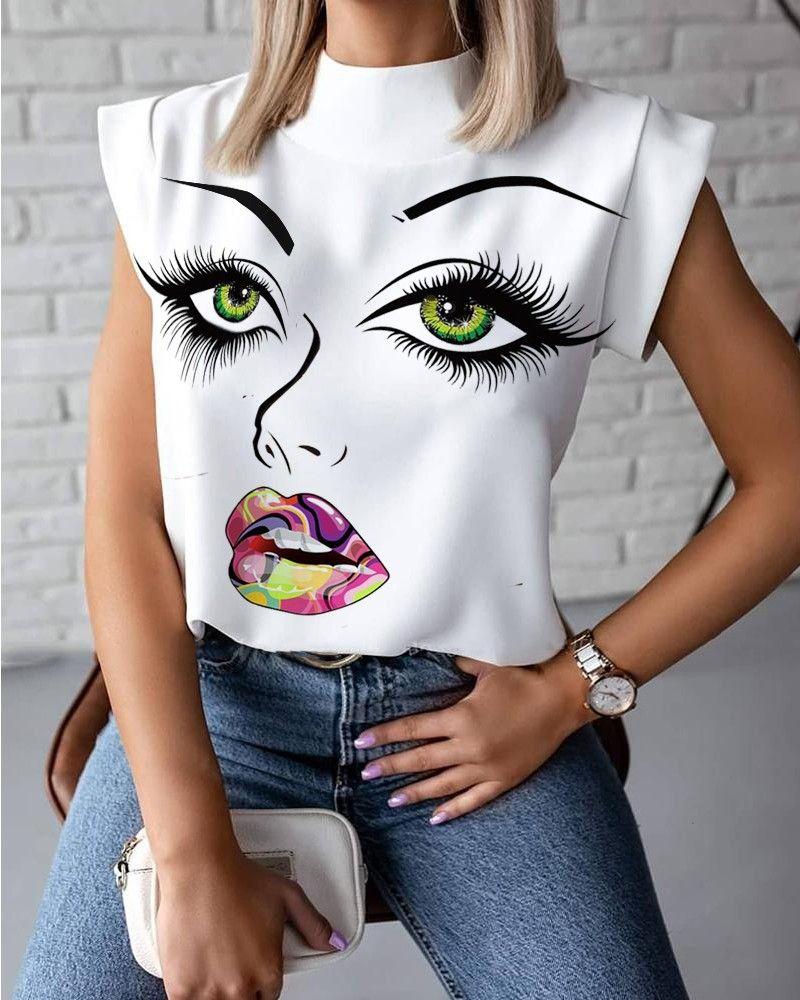 Sexy New Womens Summer T-shirt Stand Colar Lábios Impressos Tops Tees Sem Mangas Senhoras Acetato Tamanho S-2XL