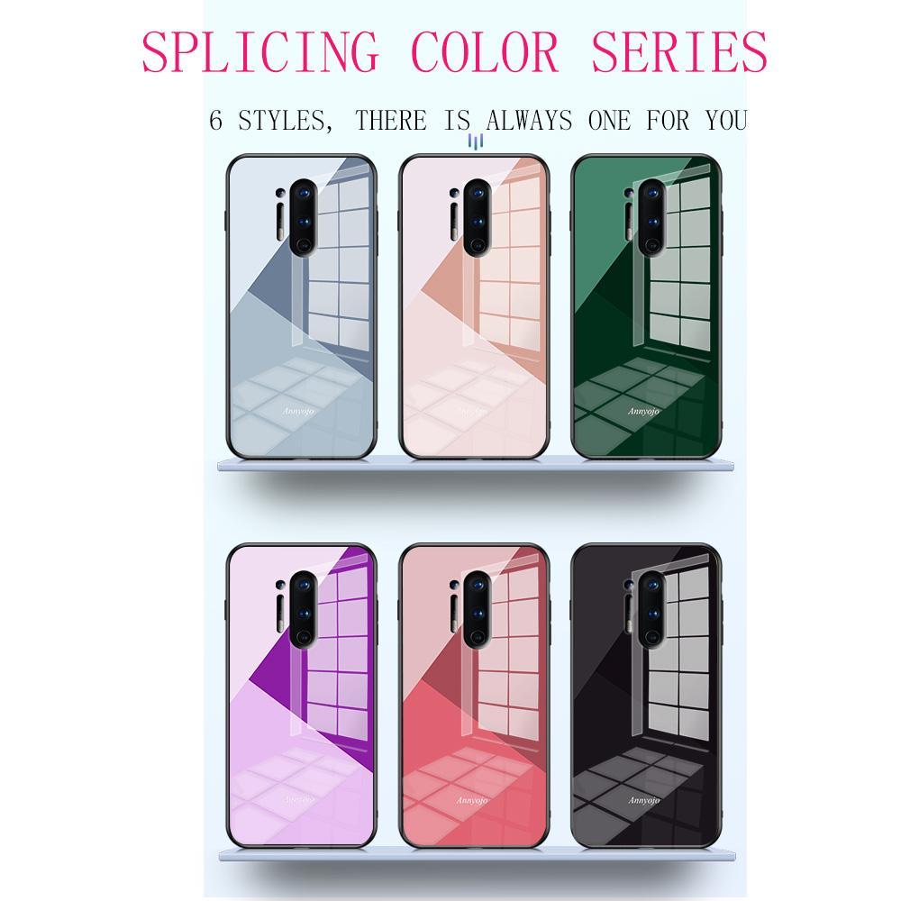 Adequado para OnePlus 8 pro caso do telefone móvel novo OnePlus 7 6 5Tpro costura anti-queda padrão temperado caso de telefone Designer de vidro