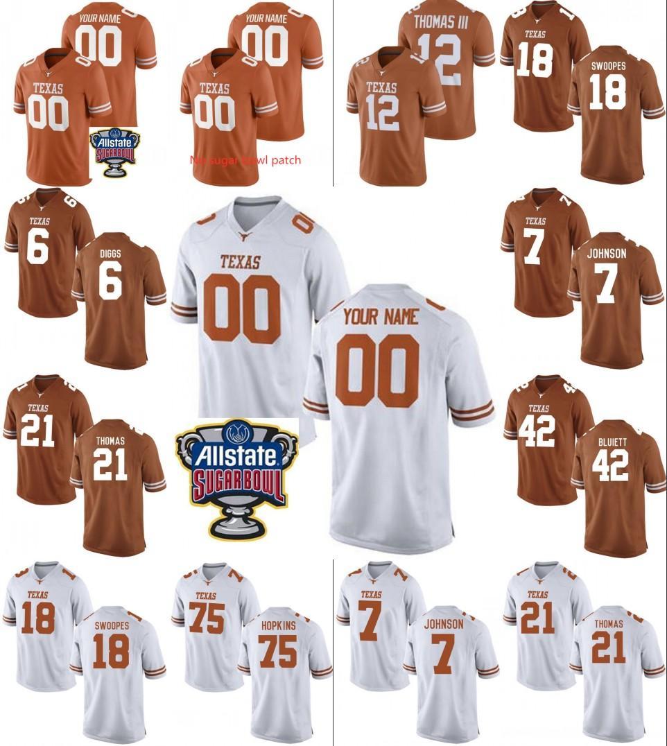 Пользовательские Техас Longhorns Американский футбол Джерси 10 Vince Young Mens персонализированный Любое имя Номер сшиты сахарницу патч трикотажные изделия