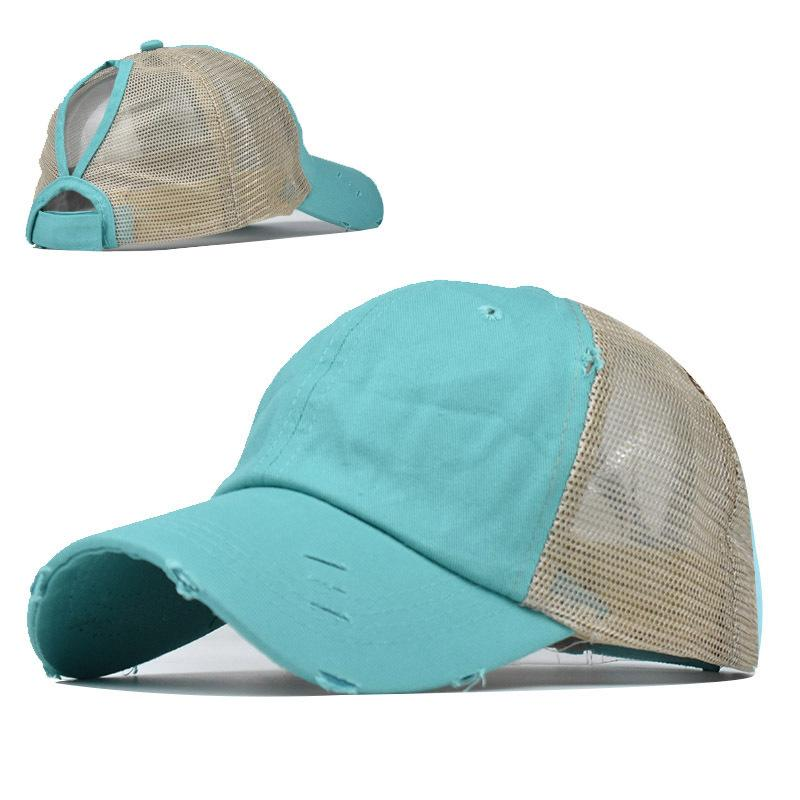 Washed ponytail Baseball Cap Vintage Dyed Low Profile Adjustable Unisex Classic Plain outdoor mesh hats Dad Snapback 6 Panel LJJA5420
