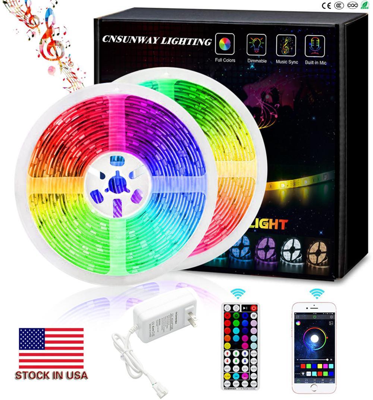RGB LED Lights bande Bluetooth SMD 5050 LED intelligent Timing corde lumière bandes Kits avec 44 clés RF Télécommande 12V 5A Adaptateur