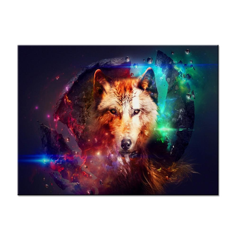 Canvas Pictures Home Decor Wall Art Framework 1 Piece/Pcs Colorful Wolf Paintings Living Room HD Prints Abstract Animal Posters