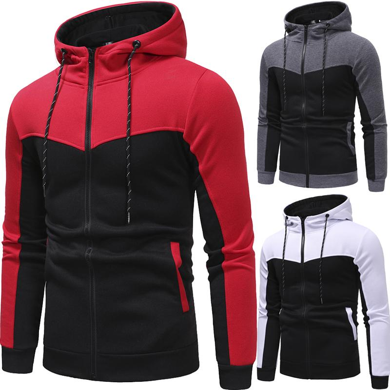 Men Casual Sets 2020 Spring New Solid Splice Jogger Tracksuit Zipper Hoodies+Pants 2PC Sets Men's Sportswear Sport Suit Clothing
