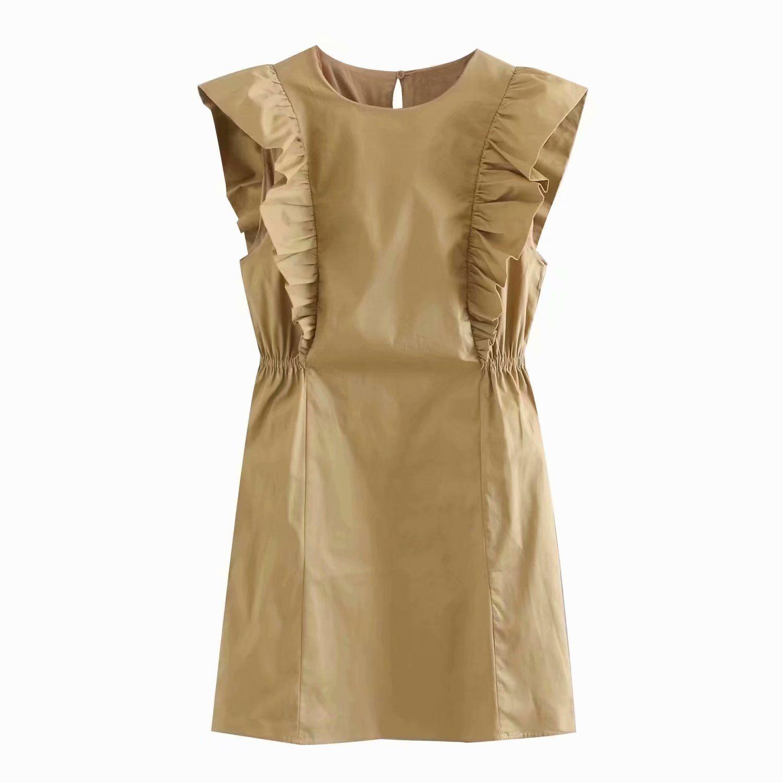 ЛЕТО платья без рукавов цвета хаки хлопка платье бабочка втулки бака женщины плиссированных оборок мини-платья