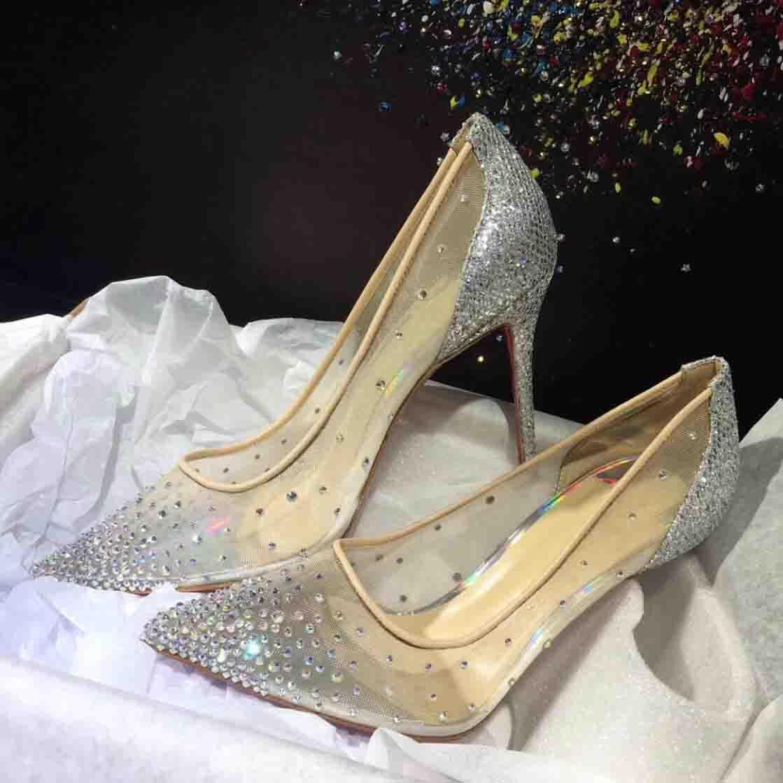 Düğün Evli Elbise Ayakkabı Yüksek Topuklu Kırmızı Alt Pompalar Follies Strass Degrastrass Ithal Örgü Rhinestone Partisi Akşam Ayakkabı Kutusu Ile