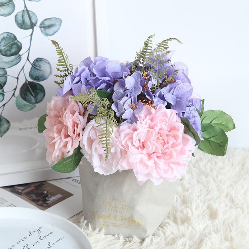 29.5cm Künstliche Hochzeit Bouquets Nacht Rose Blumenstrauß von Hydrangea handgemachte Blumen-Brautjungfern-Braut Hochzeit Blumenstrauß mariage