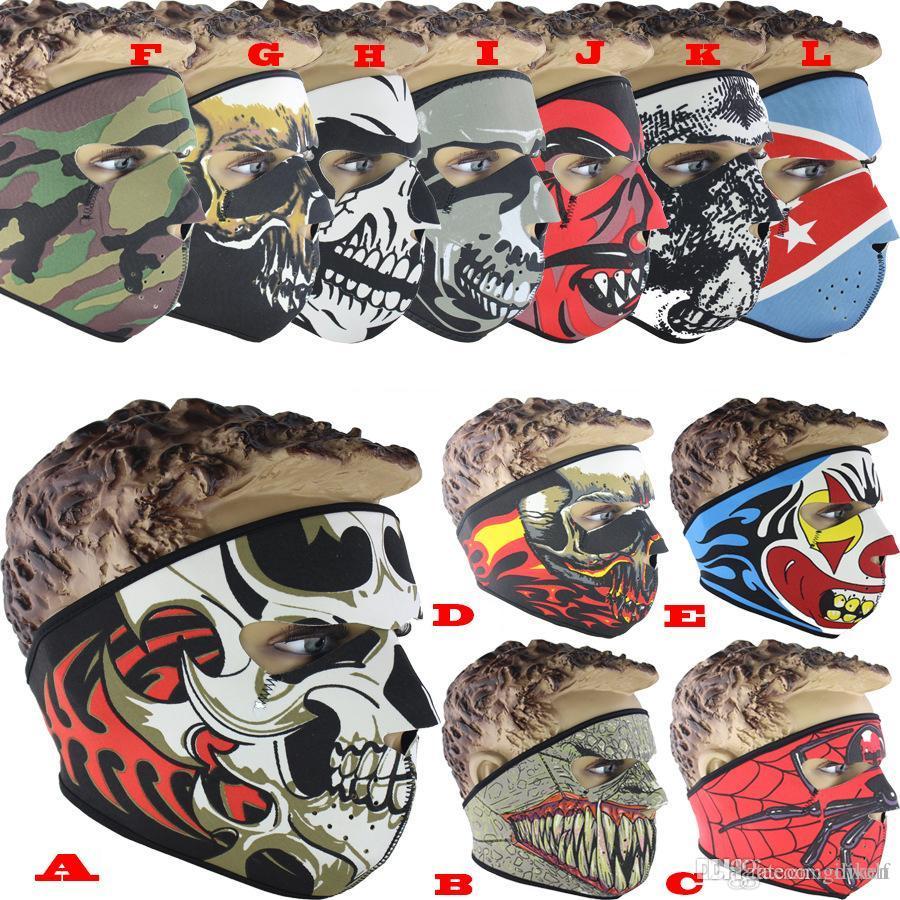 Neopren Tam Kafatası Yüz Maskeleri Cadılar Bayramı Kostüm Partisi Yüz Motosiklet Bisiklet Kayak Snowboard Spor Balaklava Maske