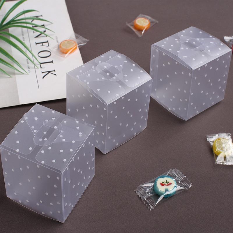 5 / 10PCS جديد واضح PVC مربع التعبئة الزفاف / عيد الميلاد لصالح كعكة التعبئة والتغليف الشوكولاته الحلوى جولة صغيرة أبل هدية الحدث صندوق شفاف