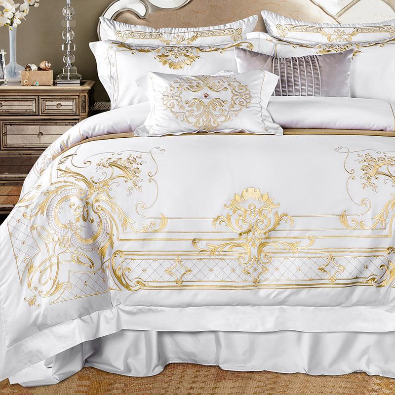 Reina Super King tamaño del conjunto de ropa de cama blanca de algodón egipcio edredón bordado del oro portada cama Sábana ajustable parrure de ropa iluminado
