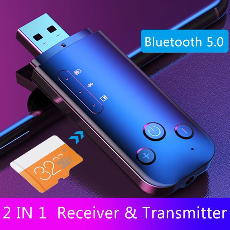 JINSERTA Car AUX Bluetooth 5.0 Adapter Receiver Transmitter 3.5mm Stereo Audio Sound Music Dongle Wireless For TV PC Headphones