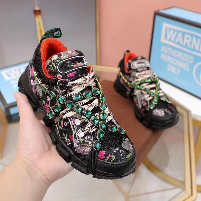 FlashTrek sapatas do desenhador com cristais removíveis Mens Sneaker Fashion Designer Womens Shoes Sneakers Casual Tamanho 35-45 kEW01