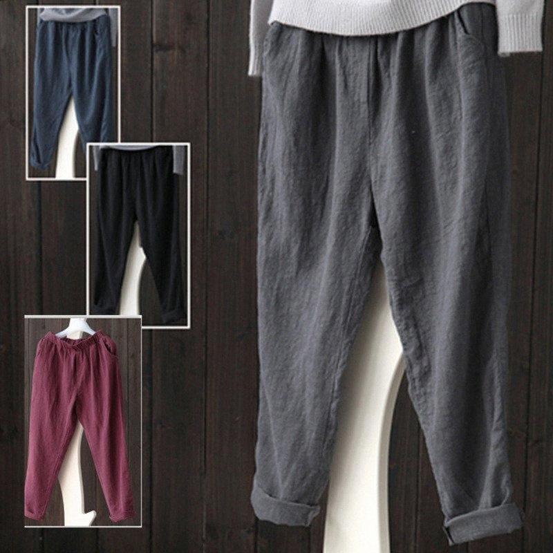 Élastique maternité Pantalon Pantalon en lin enceintes 2020 Automne Printemps Femmes enceintes Leggings Pantalons grossesse Vêtements Plus Size 5XL gNJD #
