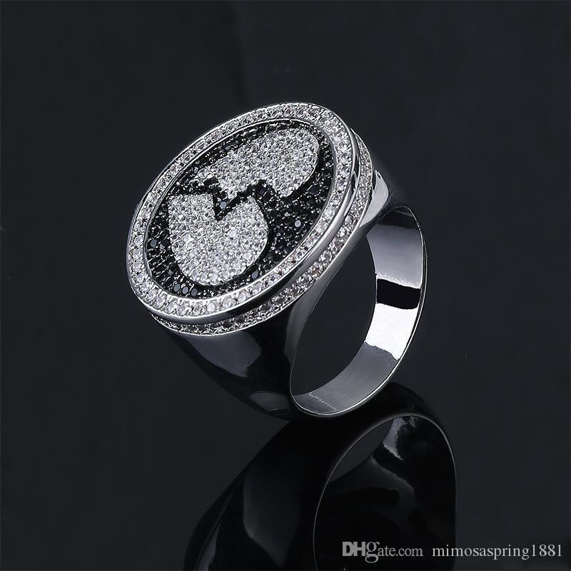 قلب كسر حلقة الهيب هوب الرجال خاتم نقش القلب المكسور زركون الجليد خارج بلينغ الأسود خاتم فضة