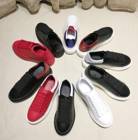 2019 Designer de Luxo Branco Preto Couro Marca Calçados Casual menina Mulheres Homens-de-rosa de ouro vermelho apartamento confortável Sneakers XRX 35-45 01