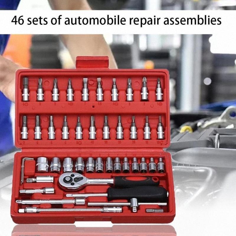Car Repair Tool Socket Set Hardware Tool Kit For Car Auto Repairing Torque Ratchet Wrench Set 46Pcs b6DO#