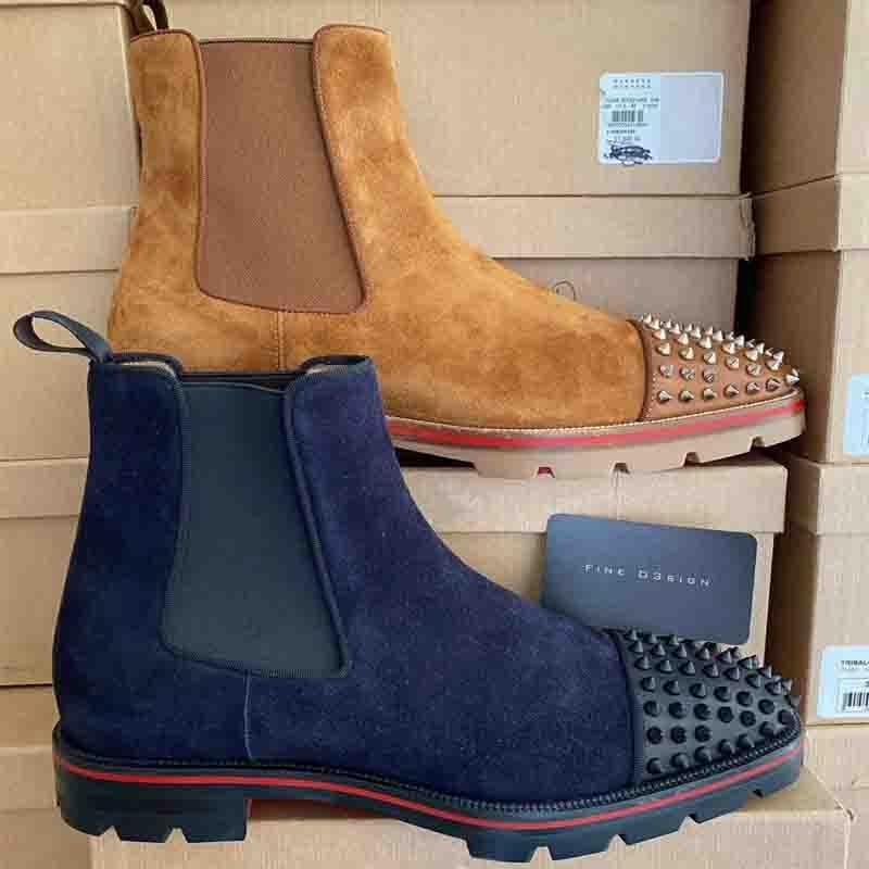 2020 Homens Casual Botas Sapatos Designer Red inferior Studded Spikes Moda Insider Sneakers Suede Leather Melon alta Botas size35-47