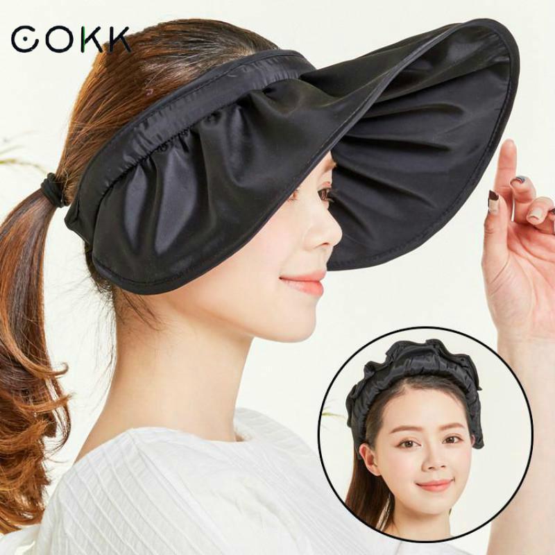COKK Summer Hats For Women Sun Hat Female Sunscreen Beach Cap Visor Foldable Chapeu Feminino Wide Brim Portable New Toca Y200619