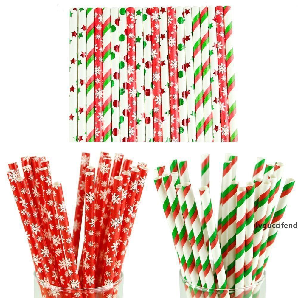 25pcs beber de papel Decoración del copo de nieve de papel paja Feliz Navidad para el hogar Feliz Año Nuevo Partido Vajilla Roja