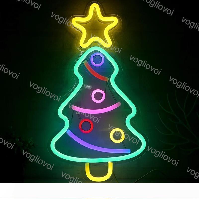Şeffaf Arka panel Tatil Noel Partisi Düğün Masa Lambaları DHL ile Led Neon Burcu SMD2835 Kapalı Gece ışık Tasarım Noel Ağacı Modeli