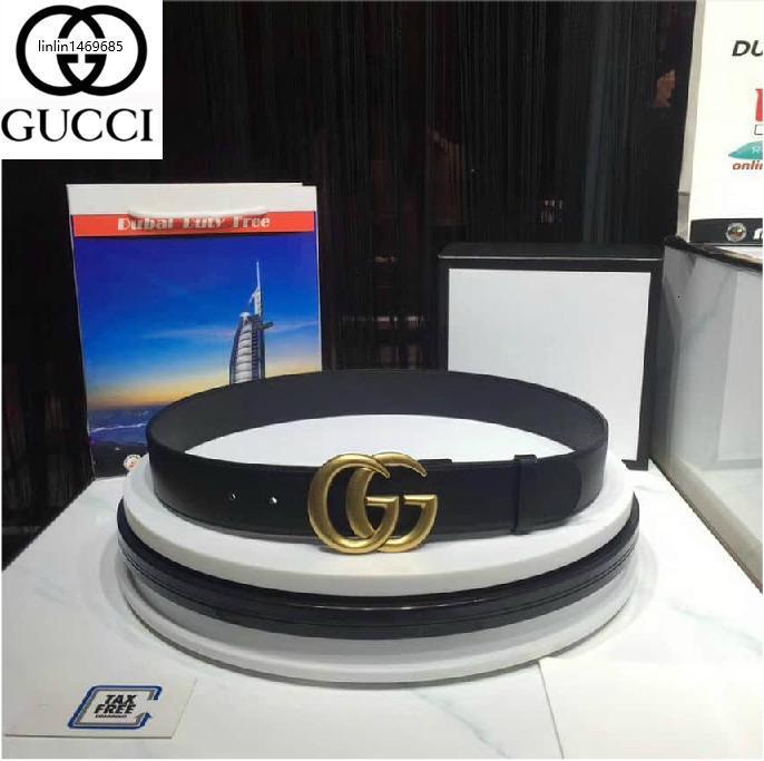 OLPX metal G hebilla de cinturón de cuero negro auténtico para hombre Cinturones para hombres de la correa con la caja