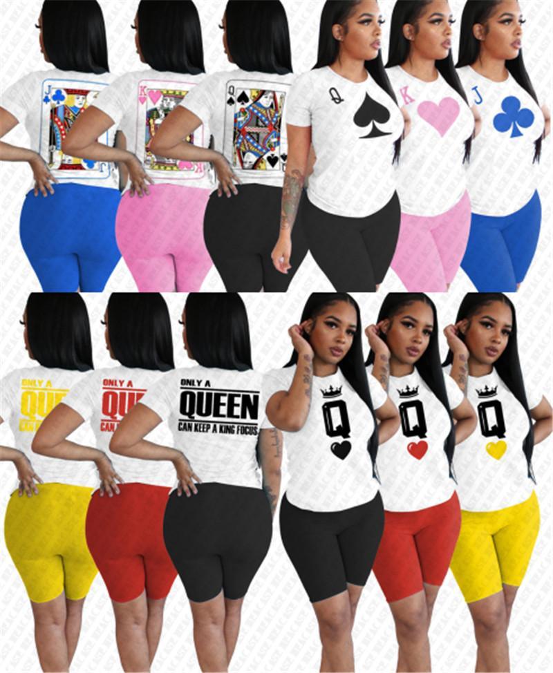 Femmes Survêtement Cartoon Digital Print Designer vêtements à manches courtes T-shirt Shorts Deux pièces Ensembles été Sports Casual Tenues S-2XL D7803